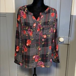 Christopher & Banks Mixed Plaid Floral Print Top
